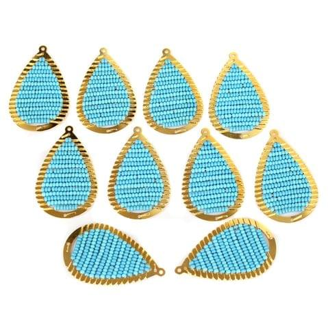 Gold Plated Miyuki Seed Beads Drop Earring Components Charms Sky Blue 42x19mm, Pack Of 10 Pcs