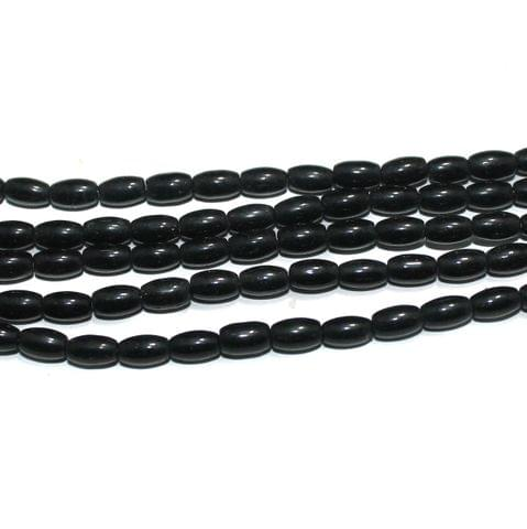 Glass Beads Oval Black 6x4 mm, Pack Of 5 Strings