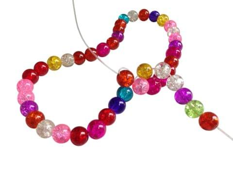 Crackle Glass Beads for Jewellery Making [Delicate Glass] 8mm Round Mixed Colors (Pack of 3 Strings, Approx 50 Beads/String)