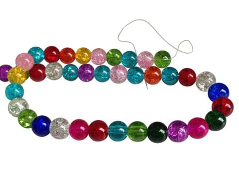 Crackle Glass Beads [Delicate Glass] 10mm Round Assorted Color Mix (Pack of 3 Strings, 42 Beads/String)