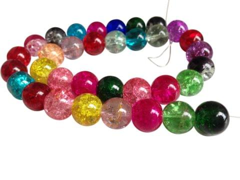 Crackle Glass Beads [Delicate Glass] (5 Size Combo of 4mm, 6mm, 8mm, 10mm, 12mm) Round Assorted Color Mix for Jewellery Making (Sold as 1 Set, 5 Strings/Set)