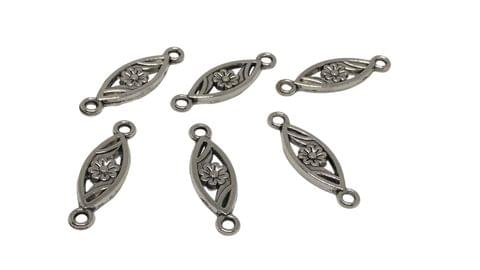 Jewelry Mini Pendant Alloy Charms 24x7x2mm Flower Antique Silver Color (Pack of 20 pieces)