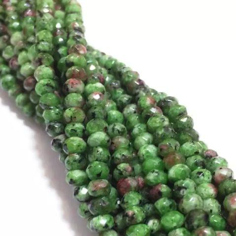 Agate Beads Turquoise Green Color Rondelle Faceted Size 4MM, 2 Strings