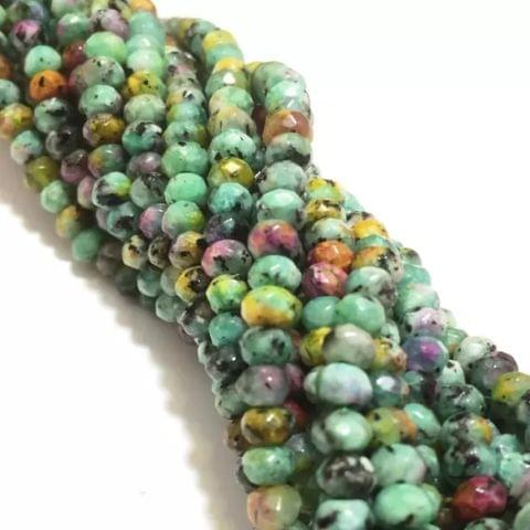 Agate Beads Turquoise Color Rondelle Faceted Size 4MM, 2 Strings