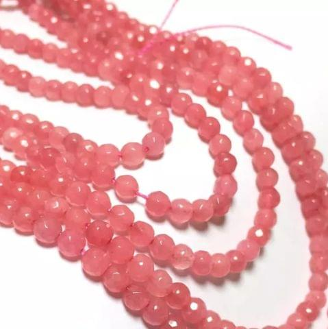 Peach Pink Agete Beads 4MM, 2 Strings