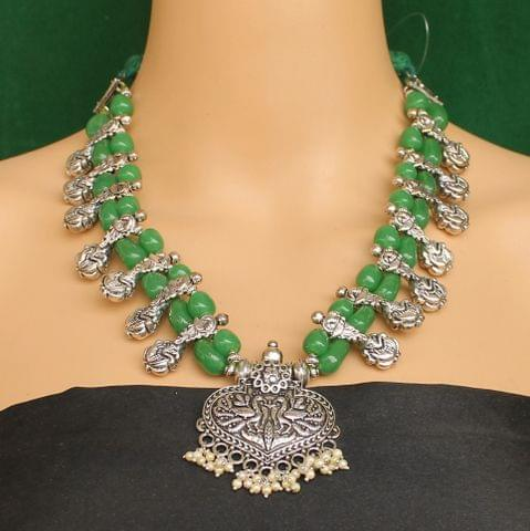 Ethnic Green Oxidised Handmade Necklace