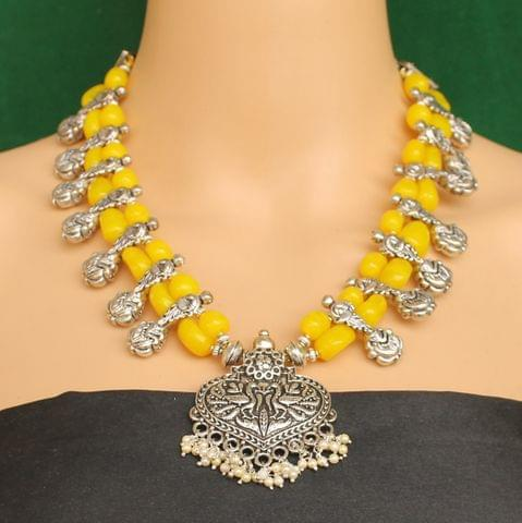 Ethnic Yellow Oxidised Handmade Necklace