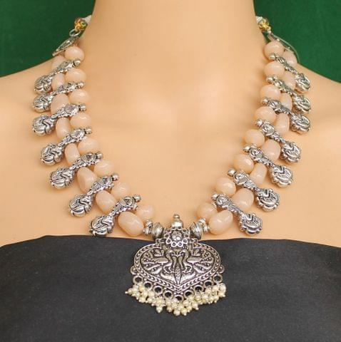 Ethnic Peach Oxidised Handmade Necklace