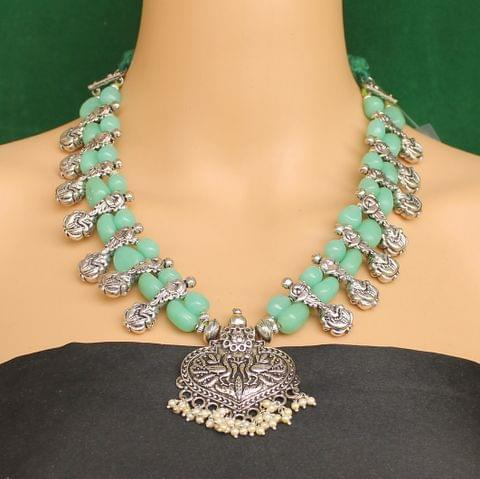 Ethnic Pista Green Oxidised Handmade Necklace