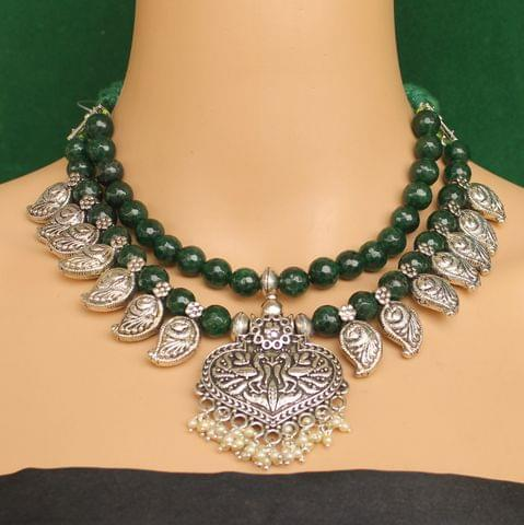 Ethnic Dark Green Oxidised Gemstone Handmade Necklace Green