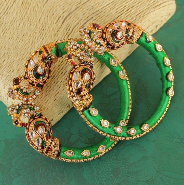 Peocock Silk Thread Meenakari Bracelet Set