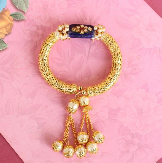 Blue Ranita Kundan Bracelet