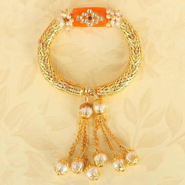 Orange Ranita Kundan Bracelet