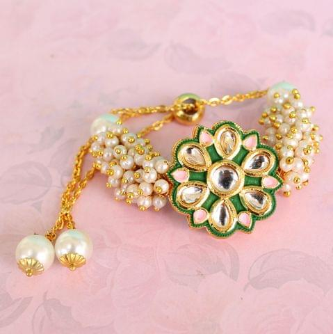 Jasmin Kundan Bracelets Blue