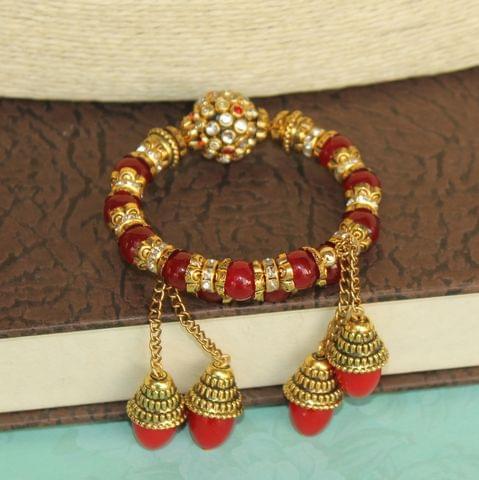 Ranita Kundan Bracelets Red