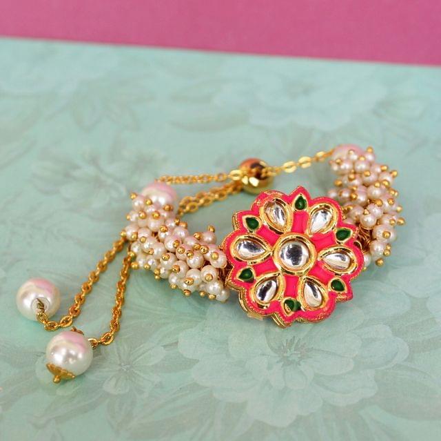 Jasmin Kundan Bracelets Hot Pink