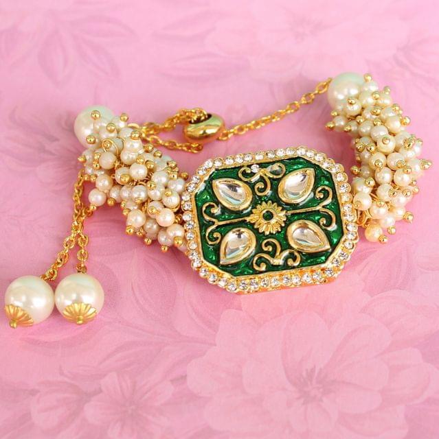 Jasmin Kundan Bracelets Green
