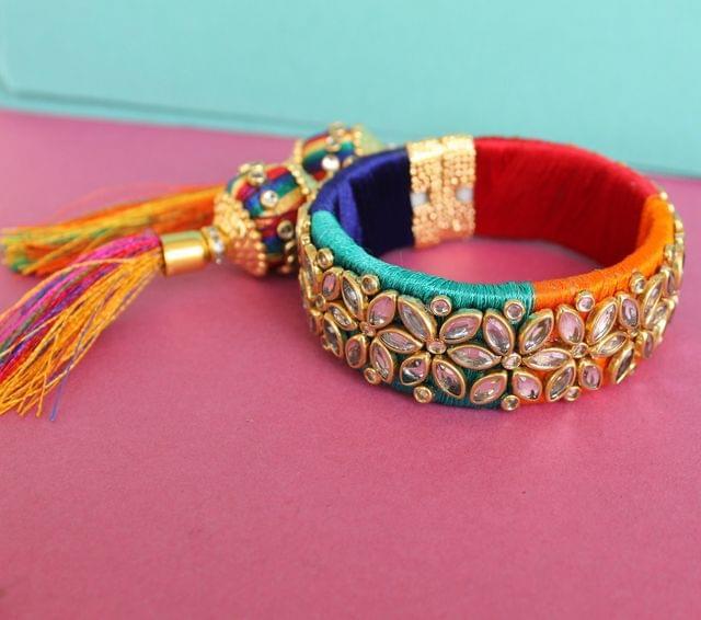 Silk Thread Multicolor Kundan Bracelet