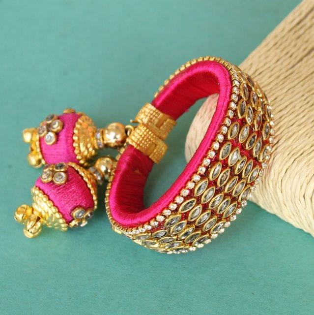 Silk Thread Mani Kundan Bracelet