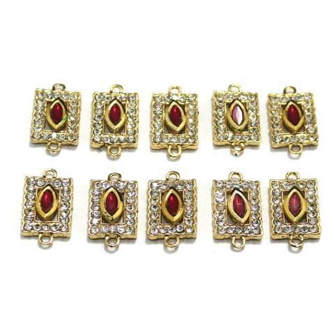 10 Pcs Gold Plated Kundan Connector, Size 25x14 mm
