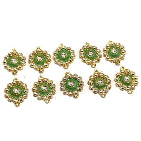 10 Pcs Gold Plated Kundan Connector, Size 26x20 mm
