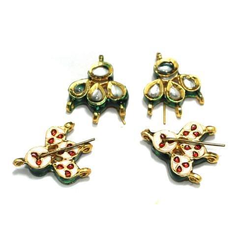 4 Pcs Kundan Earring Components, Size 28x22 mm
