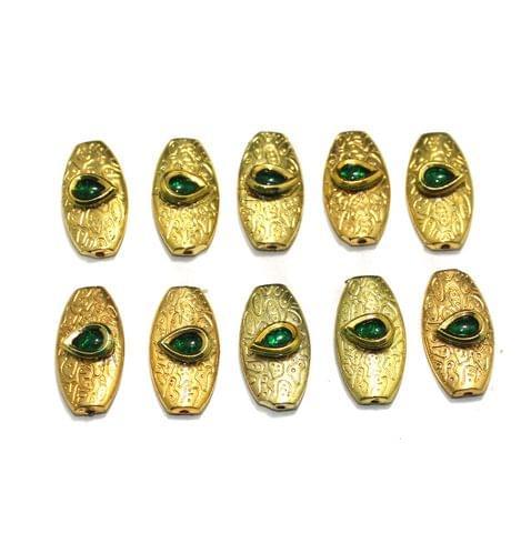 10 pcs Kundan Beads, Size 22x14 mm