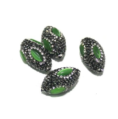4 Pcs CZ Oval Beads, Size 27x15 mm