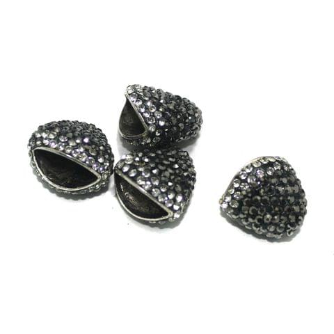 4 Pcs CZ Beads Caps, Size 22x15 mm