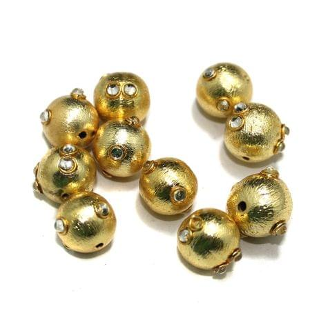 10 Pcs Metal Kundan Beads, Size 12 mm