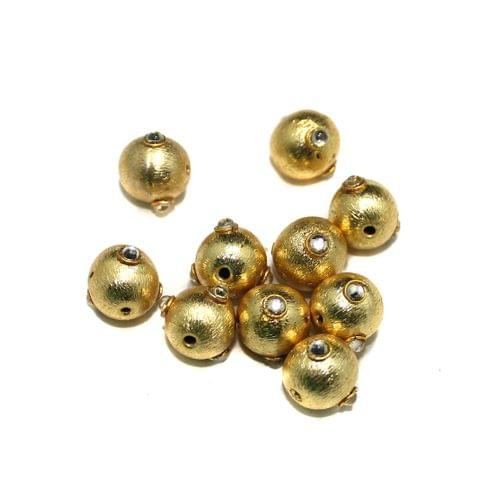 10 Pcs Metal Kundan Beads, Size 10 mm