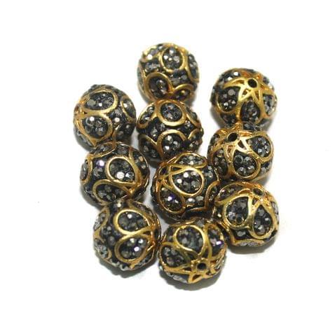 10 Pcs Round CZ Beads, Size 12 mm