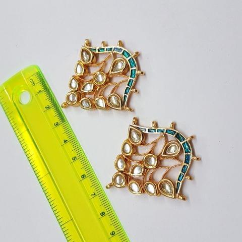 Kundan meenakari designer blue spacer, 48x44mm, 1 pair