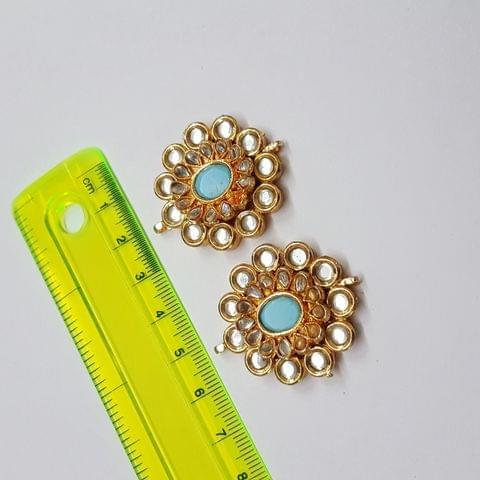 Kundan meenakari designer turquoise spacer, 36x30mm, 1 pair