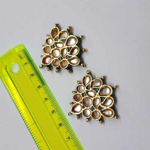 Kundan meenakari designer green spacer, 38x36mm, 1 pair