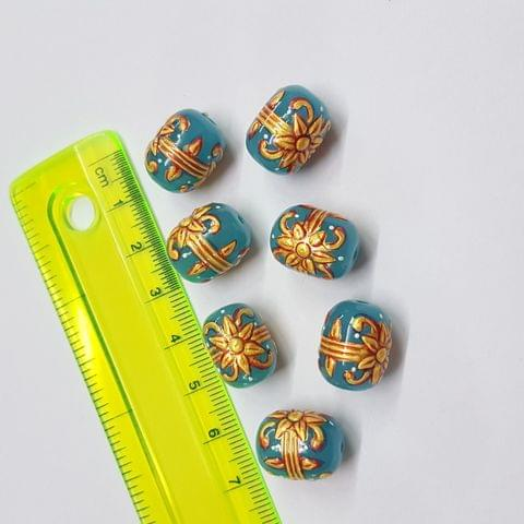 Blue Handpainted High quality Spacer beads, 12x15mm, 5pcs