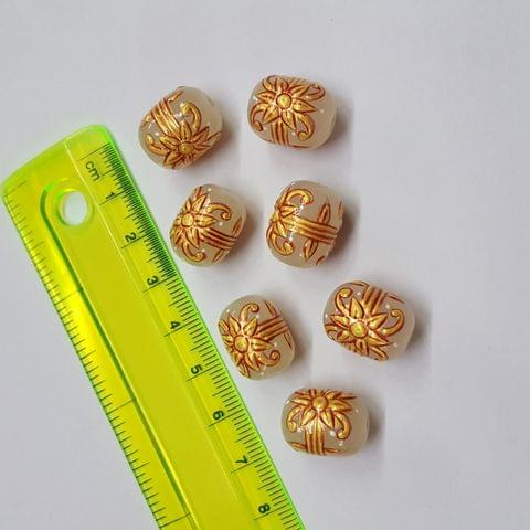 White Handpainted High quality Spacer beads, 12x15mm, 5pcs