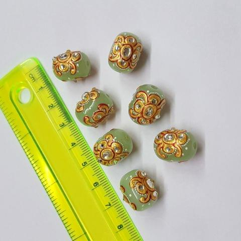 Parrot Green Handpainted High quality Spacer beads, 12x15mm, 5pcs