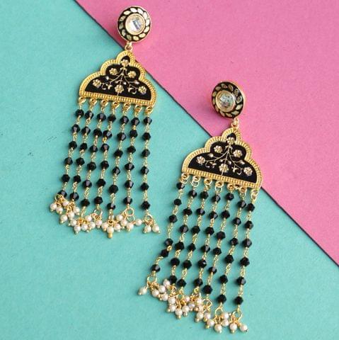 Floral Tassels Meenakari Earring
