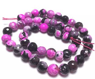 Pink Shaded Agete Beads 8mm 2 String