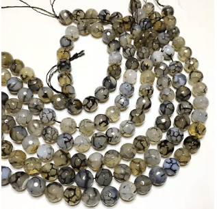 Agate Beads Gray Shaded Color Round Faceted Size 12MM, 2 Strings