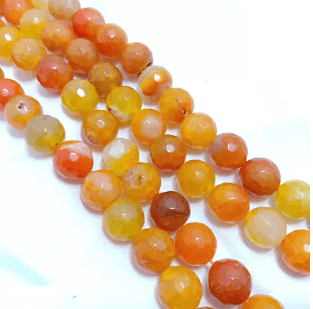 Orange Shaded Agete Beads 12MM 2 String