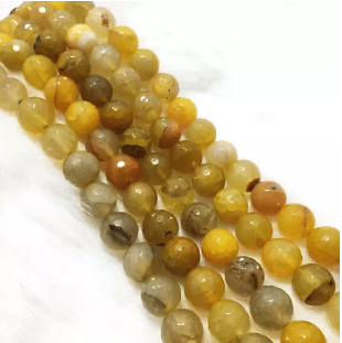 Yellow Shaded Agete Beads 12MM 2 String