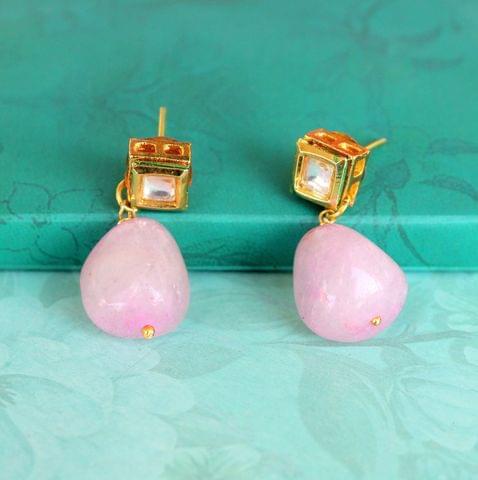 Pink Kundan Onyx Stone Earring