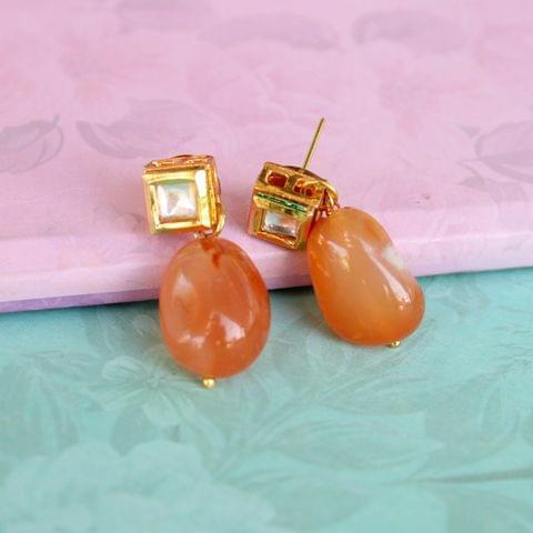 Orange Kundan Onyx Stone Earring
