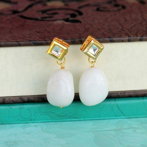 White Kundan Onyx Stone Earring