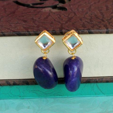 Blue Kundan Onyx Stone Earring
