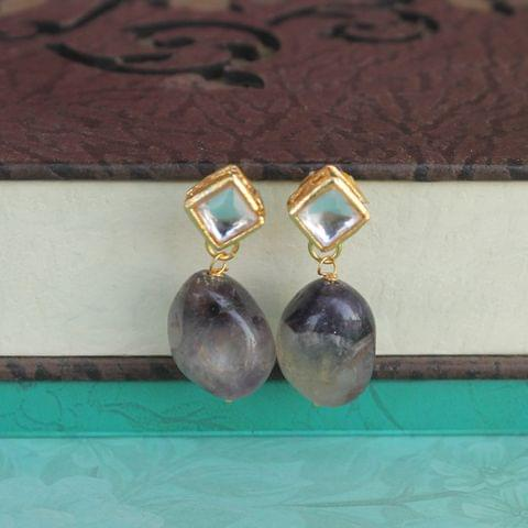 Purple Kundan Onyx Stone Earring
