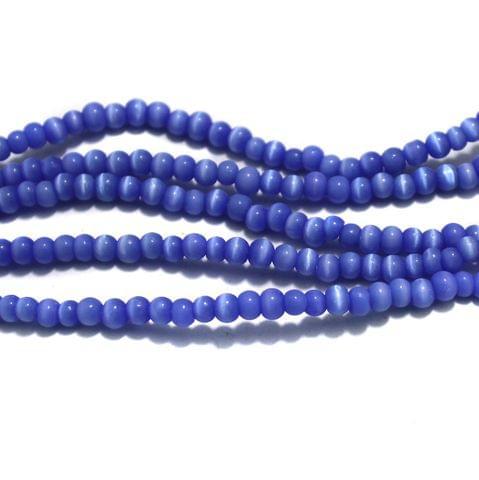 5 Strings Cat's Eye Round Beads Blue 4 mm