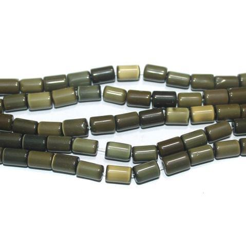 5 Strings Cat's Eye Tyre Beads Brown 10x6 mm